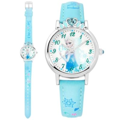 Disney 迪士尼 冰雪奇緣 Elsa 皇冠藍鑽 兒童卡通皮革手錶-白x淺藍/30mm