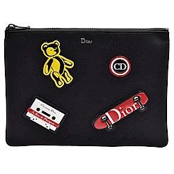 DIOR Rider系列品牌金屬字母鑲嵌拼塊圖案皮革飾邊拉鍊尼龍手拿包(黑)