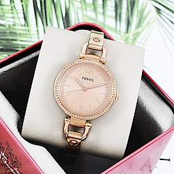FOSSIL 美國精品手錶GEORGIA 時尚晶鑽金屬手錶腕錶 玫瑰金32mm