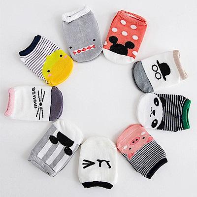 JoyNa 防滑地板襪 卡通船襪 童襪 短襪-六雙入
