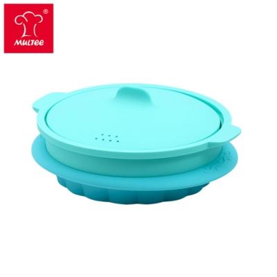 【摩堤】24cm微波烤箱蒸籠3件組(烤盤+蒸籠+上蓋)-綠松款