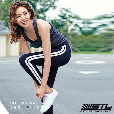 STL legging 9 韓 女 高腰側邊條運動機能拉提褲 柯林藍