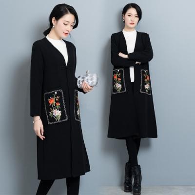 復古優雅工藝刺繡單盤釦風衣外套M-XL(共二色)-REKO