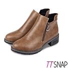 TTSNAP短靴-簡約雙拉鍊微尖中跟靴 卡其