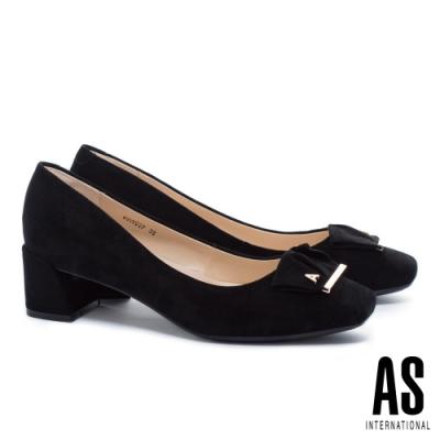高跟鞋 AS 金屬反折帶釦全真皮方頭高跟鞋-黑