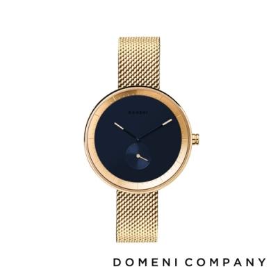 DOMENI COMPANY 經典系列 316L不鏽鋼單眼錶 金色錶帶 -藍/32mm