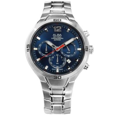 ALBA 三針三眼 計時碼錶 藍寶石水晶玻璃 日期 防水 不鏽鋼手錶-藍色/44mm