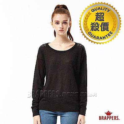 BRAPPERS 女款 燙鑽肩長袖線衫-黑