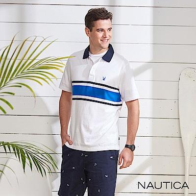 Nautica 撞色條紋短袖POLO衫-白