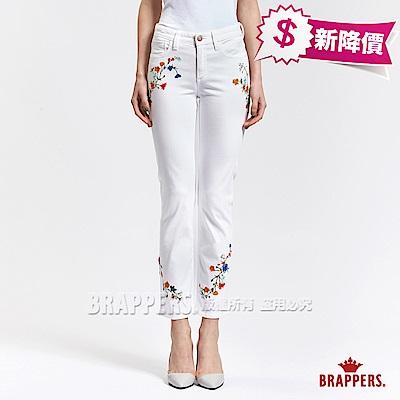 BRAPPERS 女款 AC-Cargo中腰系列-女用彈性直筒褲-白
