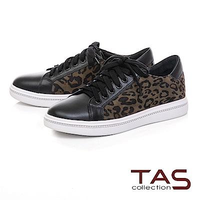 TAS 異材質拼接絨面豹紋休閒鞋-經典黑