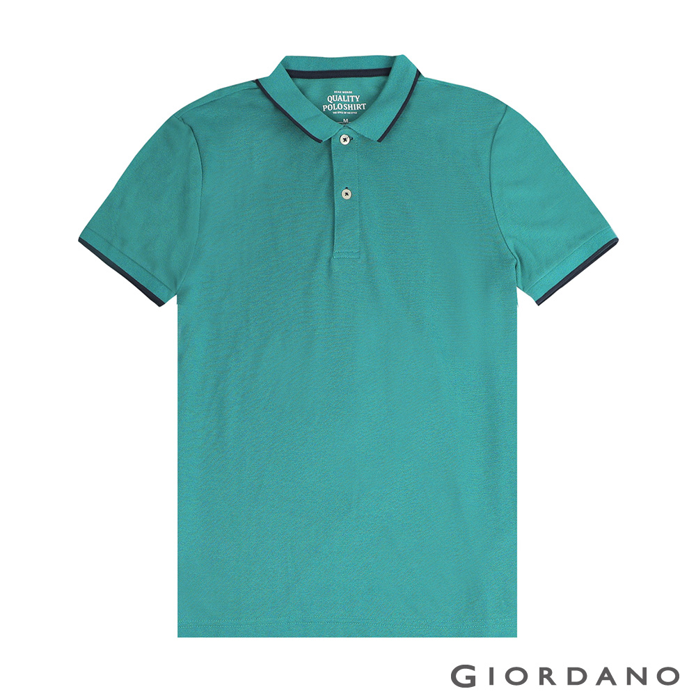 GIORDANO 男裝經典素色短袖POLO衫-45 雪花咬鵑綠