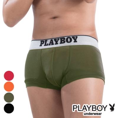 PLAYBOY MIT素面低腰彈性平口褲 四角褲-單件(草綠)