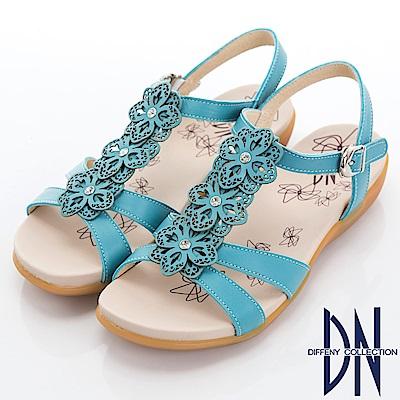 DN 花團錦簇 MIT牛皮電雕花朵涼鞋-藍
