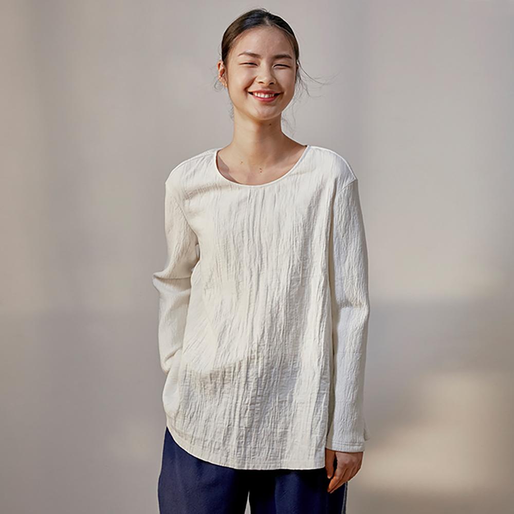 旅途原品_白_原創設計棉麻肌理A型拼接T恤-白色