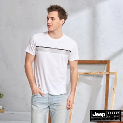 JEEP 簡約圖騰吸濕排汗短袖TEE-白色