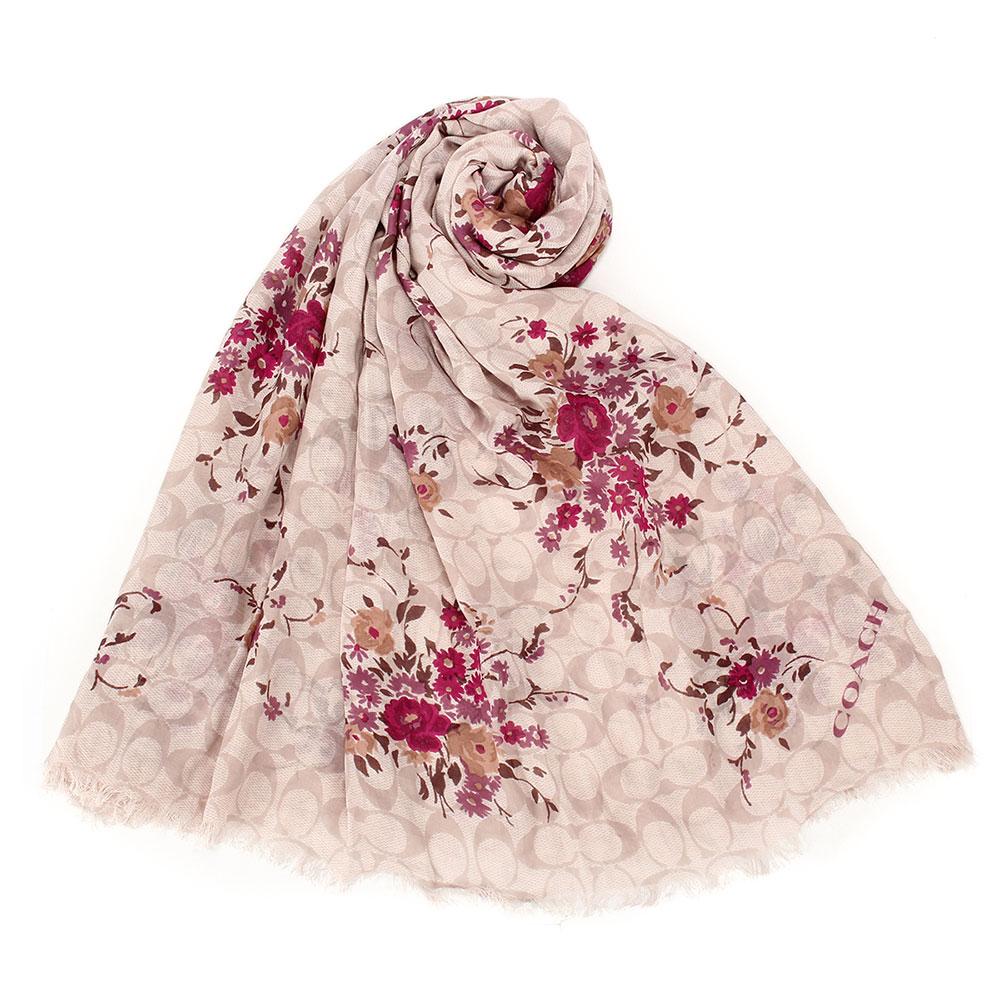 COACH 滿版C LOGO花花薄款100%莫代爾披肩圍巾-卡其/莓紫色COACH