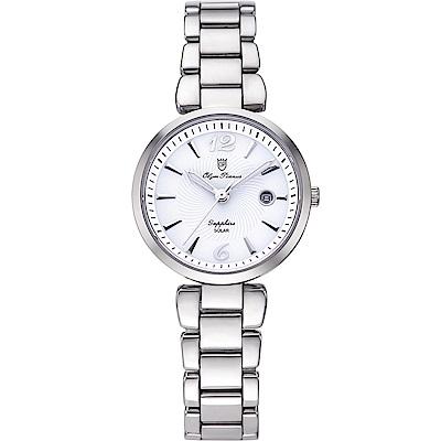 奧柏表 Olym Pianus 潮流太陽能淑女腕錶-白 5699LS