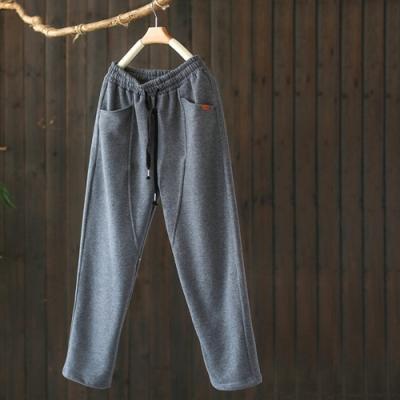 素色拼接抽繩鬆緊腰加絨運動褲寬鬆長褲-設計所在