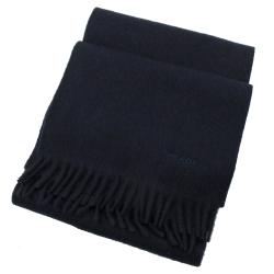 PRADA 電繡LOGO長型羊毛圍巾(深藍)