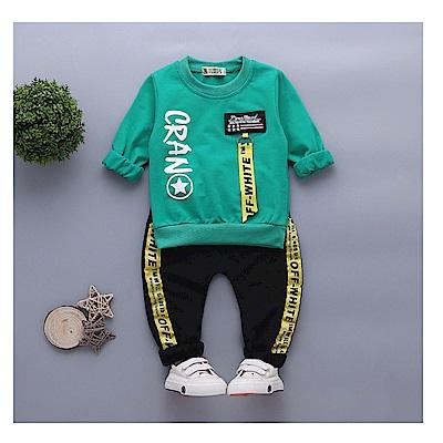 【韓品童裝】男童 中小童二件組英文運動褲套裝-二色可選