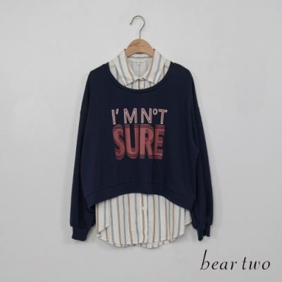 beartwo - 假兩件襯衫拼接短版T  - 藍