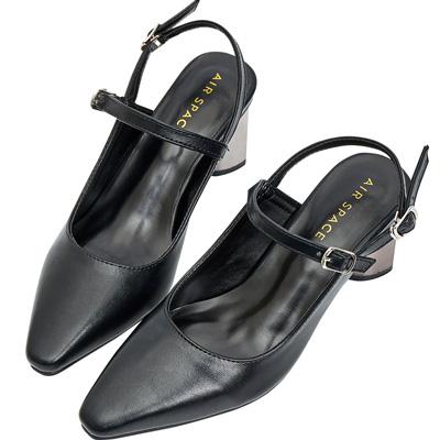 AIR SPACE 金屬鏡面中跟瑪莉珍鞋(黑)