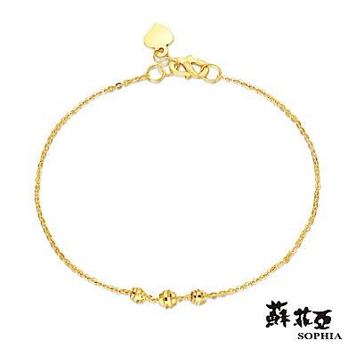 蘇菲亞SOPHIA - G LOVER系列優雅雕花黃金手鍊(三珠版)