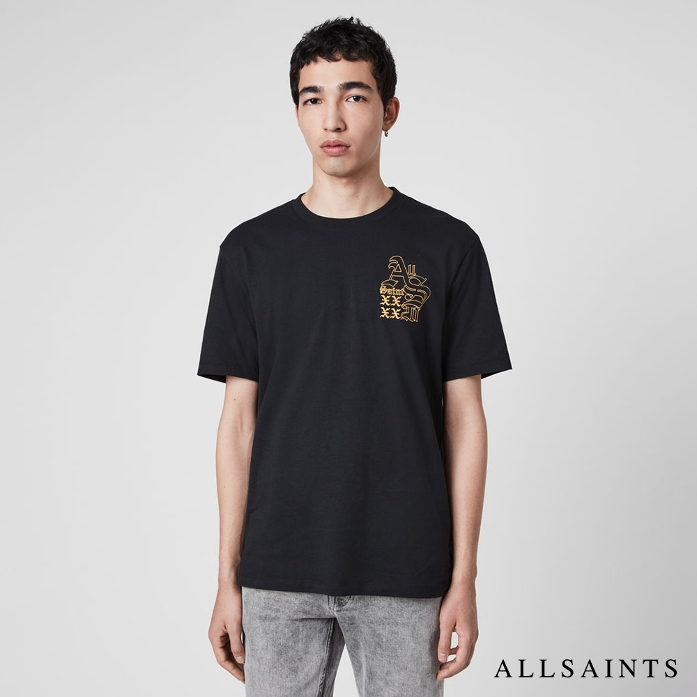 ALLSAINTS  EX MONO XXXX標語短袖純棉圖T恤-黑