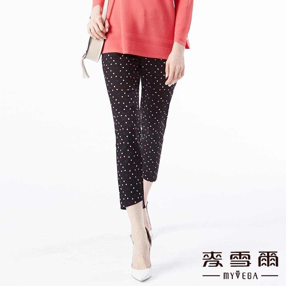 【麥雪爾】棉質法式圓點印花水鑽裝飾長褲