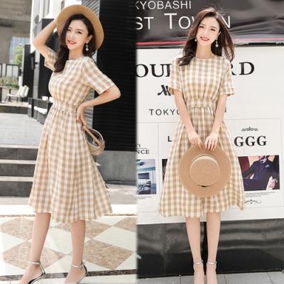 【韓國K.W.】追加款優雅格紋收腰洋裝-2色