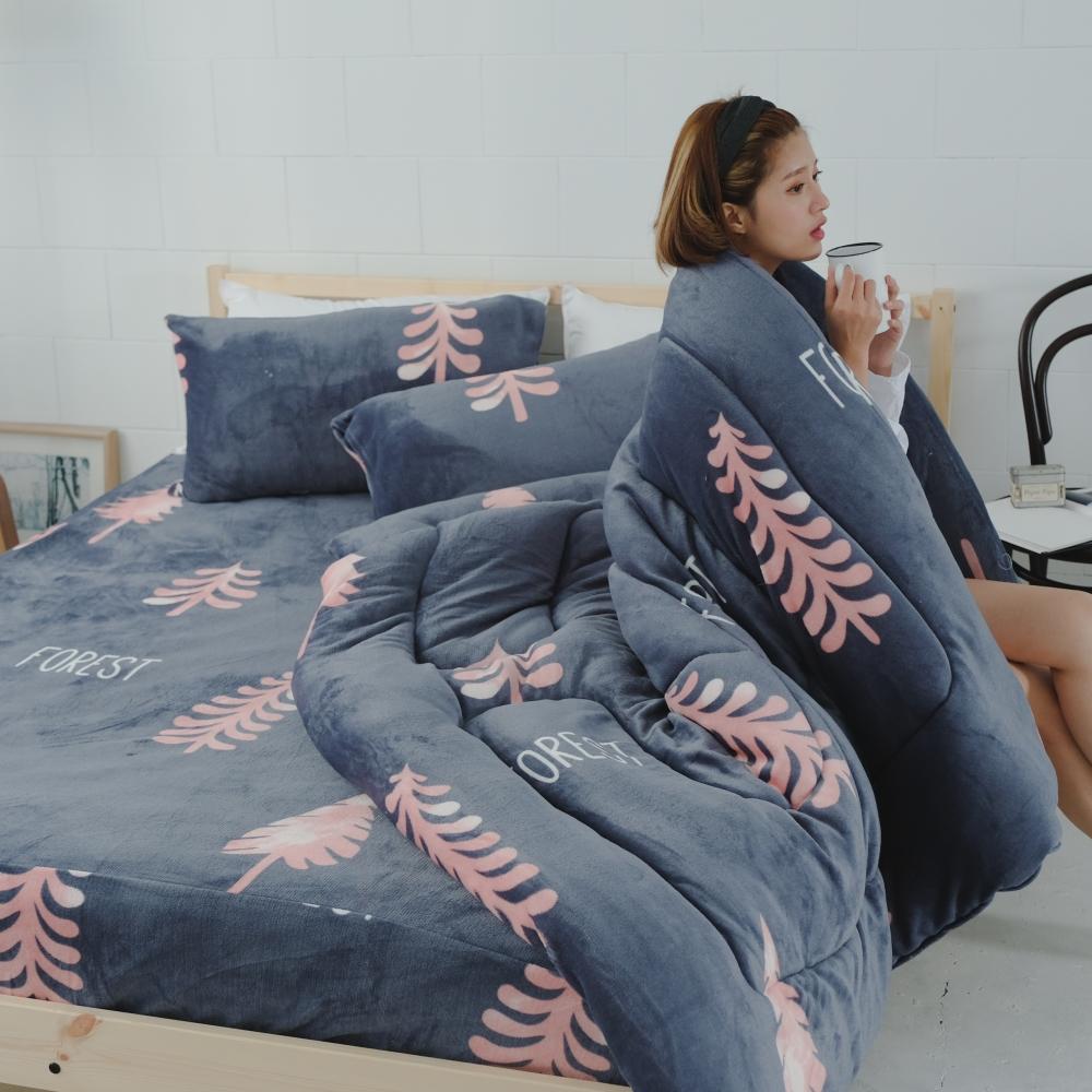AmissU 北歐送暖法蘭絨單人床包暖暖被三件組 落葉餘暉