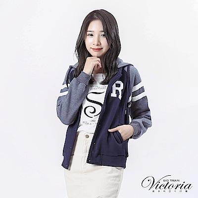 Victoria 可拆帽袖撞色拉克蘭袖休閒外套-女-藍灰