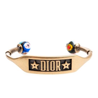 DIOR VICTORIAN MEX鍍鈀復古金屬琉璃圓珠設計手環 (金色)