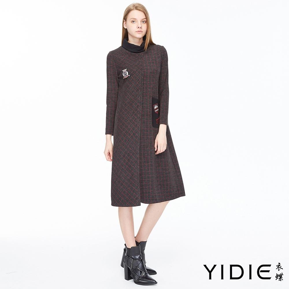 YIDIE衣蝶 翻領不對稱格紋長洋裝-鐵灰