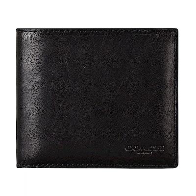 COACH專櫃款經典壓印LOGO滑面牛皮10卡對折短夾(黑)
