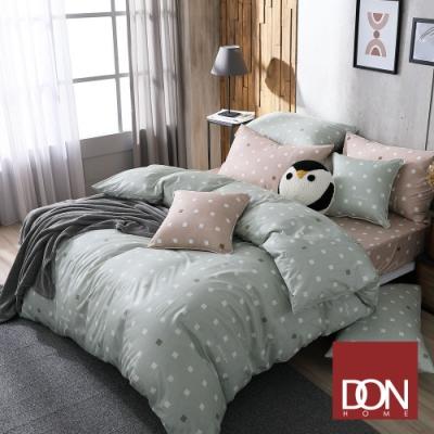 DON極簡日常 加大四件式200織精梳純棉被套床包組(方格-焦糖米+方格-氣質綠)