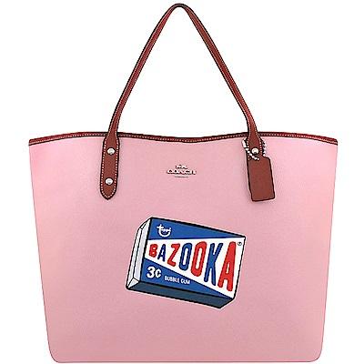 COACH 粉紅色荔枝紋皮革托特包-大型