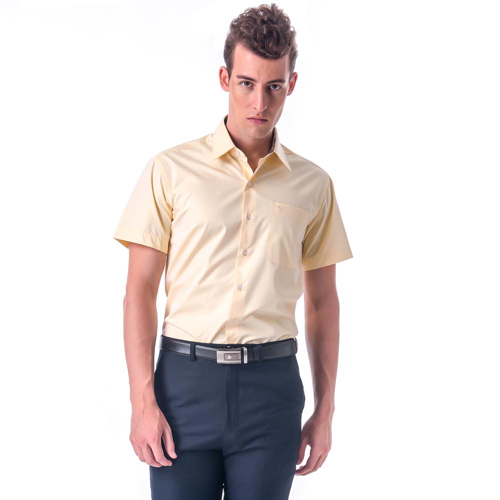 金‧安德森 經典格紋繞領黃色窄版短袖襯衫