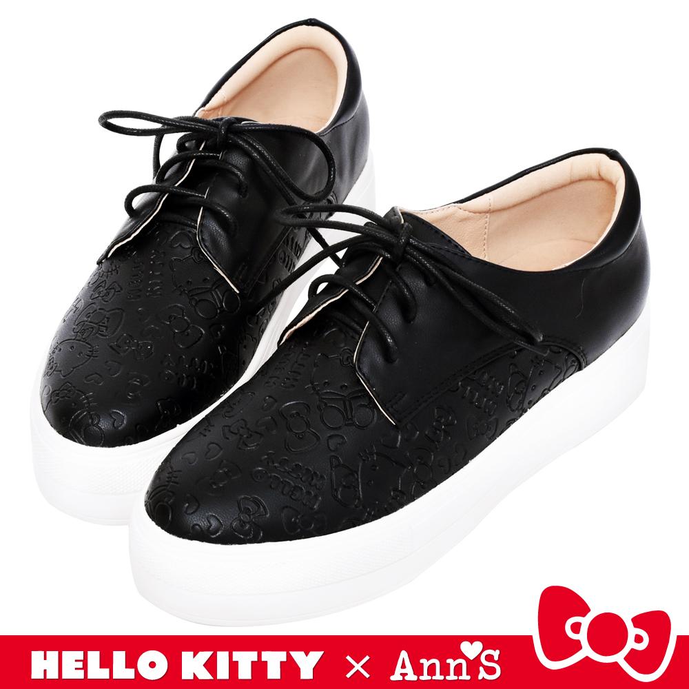 HELLO KITTY X Ann'S躲貓貓低調烙印2WAY綁帶厚底鞋-黑
