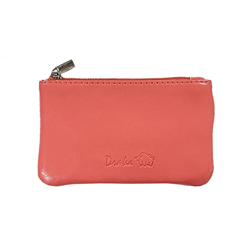 DRAKA 達卡 - 真皮M系列-鑰匙零錢包-粉橘