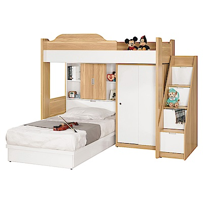 文創集 迪亞7.8尺床台(單人雙層+收納層格+不含床墊)-235x216x180cm免組