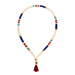 SHASHI Lily Navajo White 微顆粒珠珠 流蘇手鍊 酒紅 彈性手圍