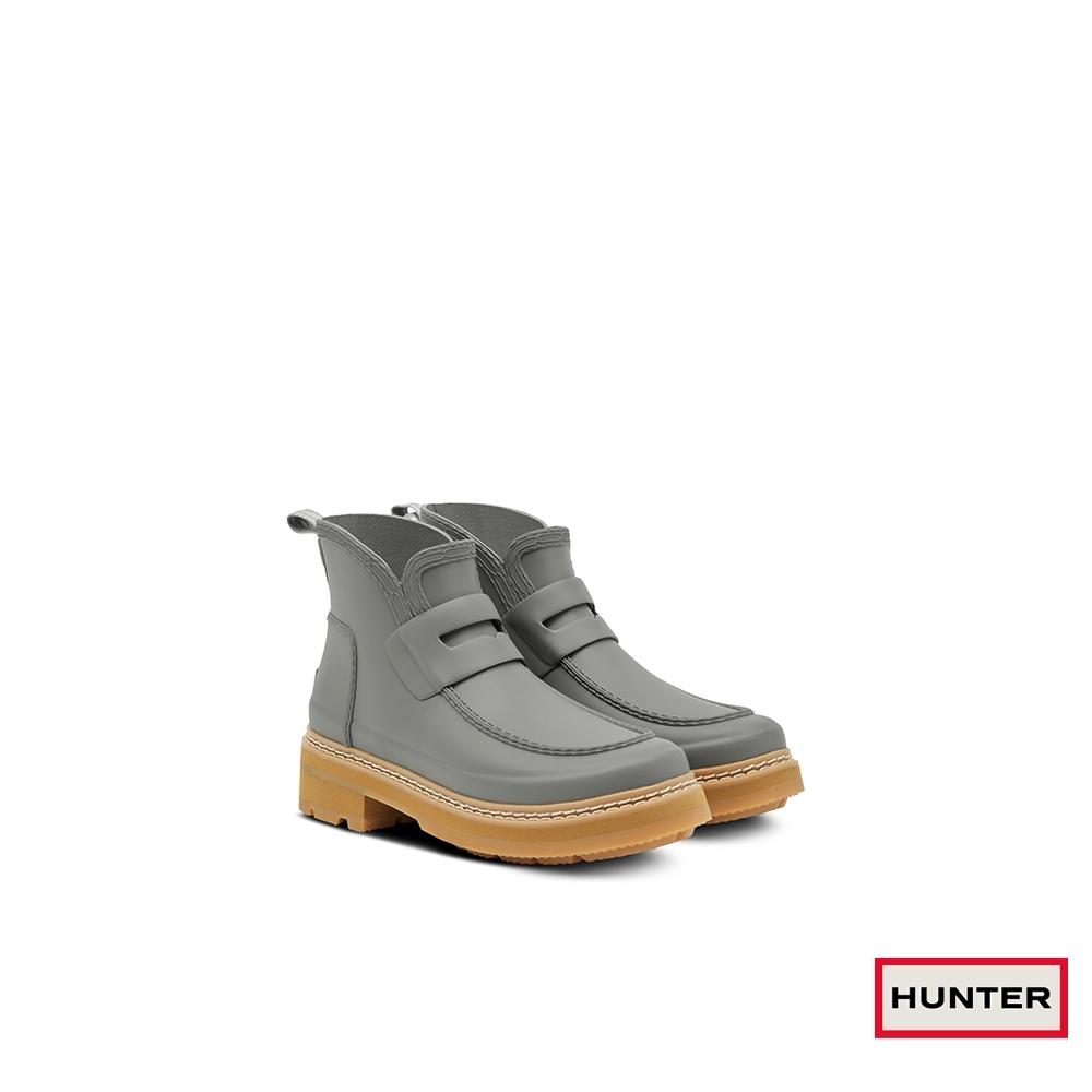 HUNTER -女鞋-Refined粗針縫樂福霧面踝靴-灰