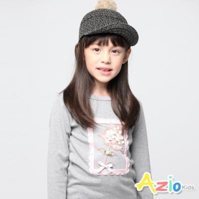 Azio Kids 女童 上衣 花朵框框珠珠網紗上衣(灰)