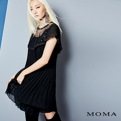 MOMA 蕾絲網紗百摺洋裝