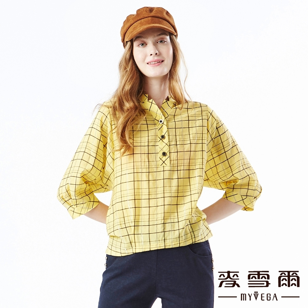 【麥雪爾】時尚百搭格紋鈕扣雪紡上衣-黃