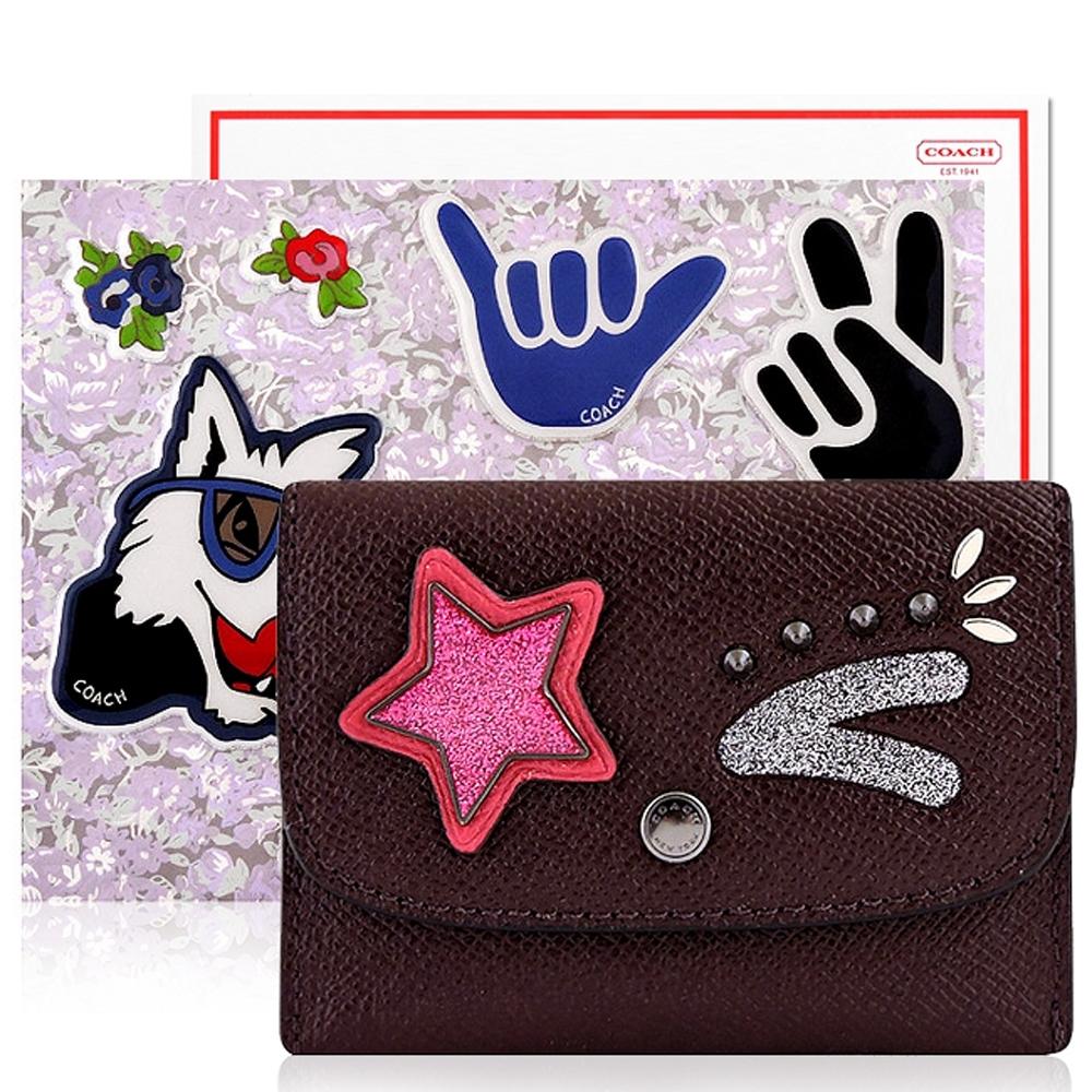 COACH 深咖啡色防刮皮革星星徽章證件名片短夾+Disney狗狗立體泡棉貼紙