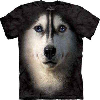 摩達客-美國進口The Mountain Classic自然純棉系列 哈士奇犬臉 純棉T恤(大尺碼 3XL)