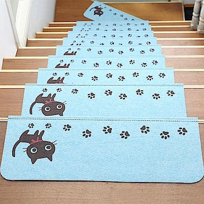 半島良品 可重覆黏貼樓梯止滑墊5入 貓咪-粉藍